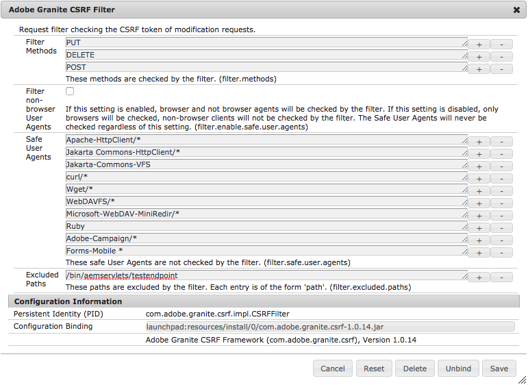 Screen capture of the AEM OSGi Configuration Manager for the CSRF Filter, with the servlet path added as an Excluded Path.