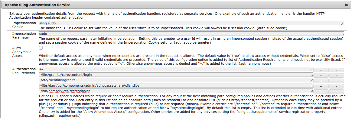 Screen capture of the AEM OSGi Configuration Manager for the Sling Authentication Service, with the servlet path added as an Authentication Requirement.