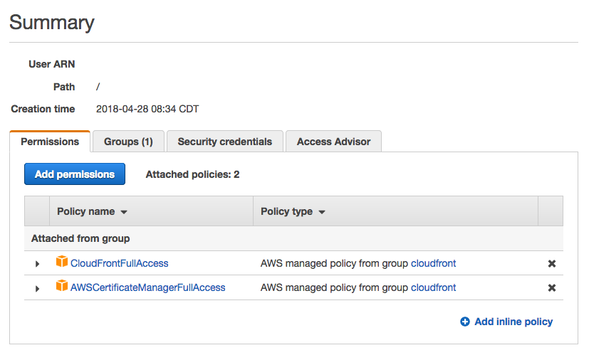 Screen capture of the AWS IAM console and the group permissions added to the ACM certbot user to enable publishing new certificates into AWS ACM and CloudFront.