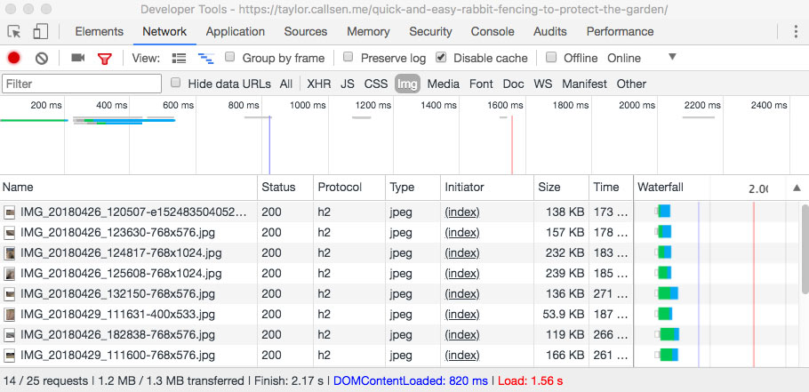 Screen capture of the Chrome Developer Tools showing the Network requests loading images on the sample blog post before image optimizations.