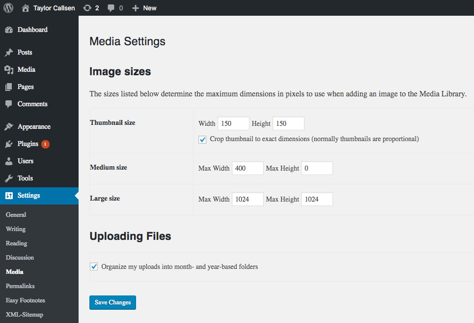 Screen capture of the WordPress admin Media Settings showing where image sizes can be adjusted in WordPress.