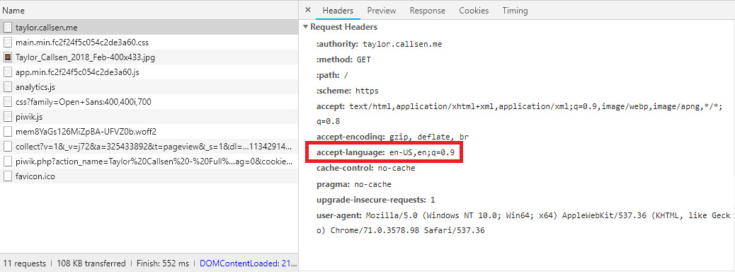 "Screen grab of the Chrome Developer Tools with a request selected and the ""accept-language"" header highlighted."