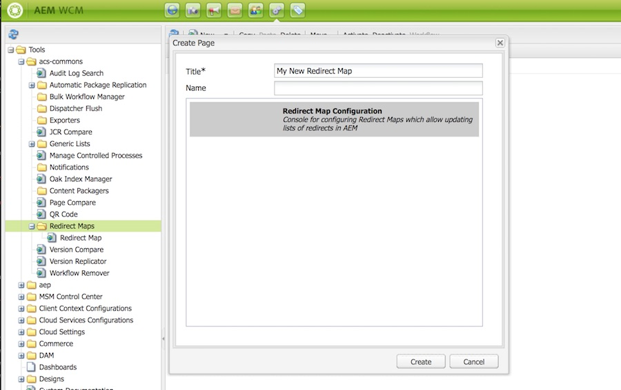 A screen capture of the AEM Classic UI miscadmin with a dialog window open for creating a Redirect Map Configuration.