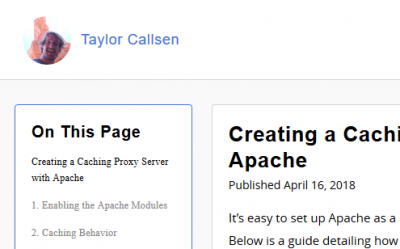 A screen capture of the top navigation header of Taylor Callsen's blog, featuring a circular logo image and Taylor's name.